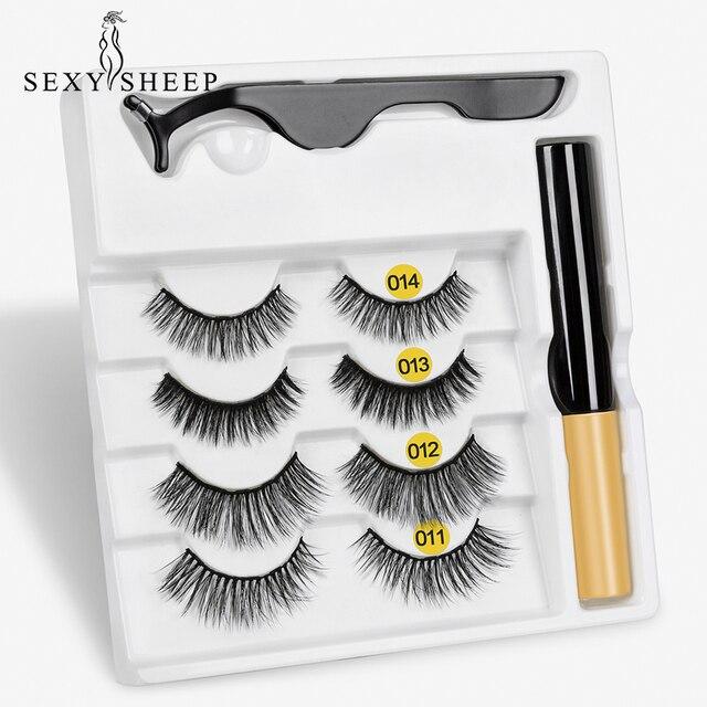 4pairs Magnet Eyelash Magnetic Liquid Eyeliner& Magnetic False Eyelashes & Tweezer Set Waterproof Long Lasting Eyelash Extension