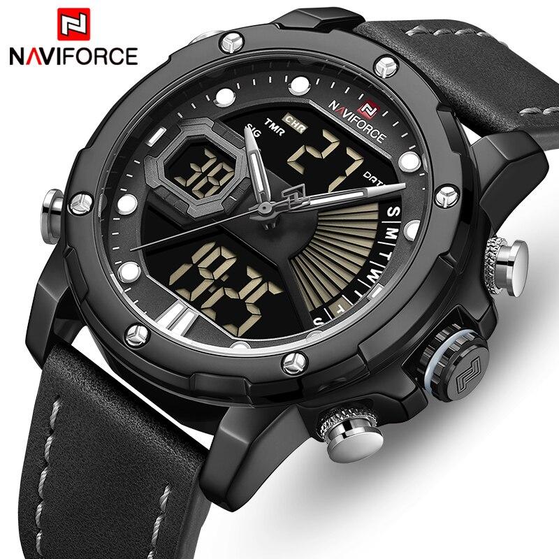NAVIFORCE Luxury Brand Men's Military Sports Watch Men Analog Digital Quartz Wristwatch Waterproof Dual Display LED Male Clock