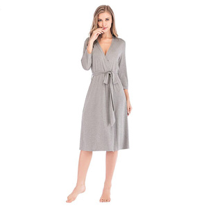Image 3 - Concise Women Robes Sleepwear Ladies Soild Kimono Night Robes Autumn Winter Nightwear Casual Dressing Gown Female Bathrobe