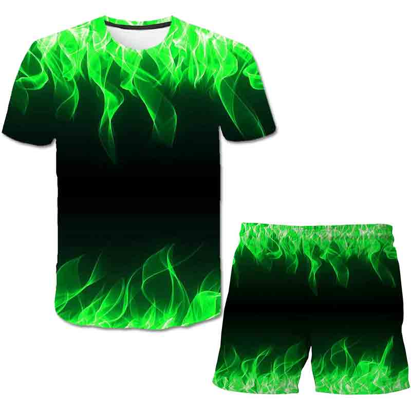 Kids New 2021 Summer Fashion 3D T-shirt Sets Blue Flame Funny Big Boy Girl Print Vortex T shirts Children Cool Clothes Tops Suit