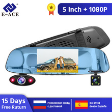 цена на E-ACE Car DVR 5 Inch 3 Camera lens FHD 1080P Video Recorder Camera Mirror with Rearview Camera Car Dvr Auto Registrator Dashcam
