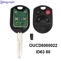 Jingyuqin 4 Knoppen Compleet Autosleutel Afstandsbediening Voor Ford Escape Keyless Shell Entry Combo Fob Remote OUCD6000022 Met ID63 Chip 80-in Auto Sleutel van Auto´s & Motoren op
