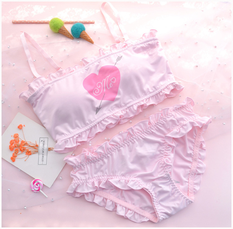 Cute & Sexy Shimapan Kawaii Women's Transparent Sweet Cupid cover 2pcs Bra & Panties Set Lolita Camisoles Set Color White & Pink