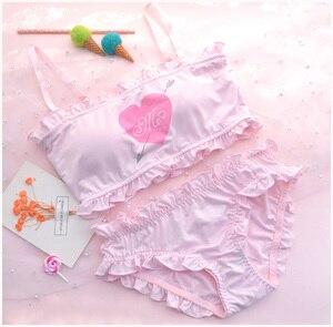 Image 1 - Sevimli ve seksi Shimapan Kawaii kadın şeffaf tatlı Cupid kapak 2 adet sütyen ve külot seti Lolita kombinezon seti renk beyaz pembe