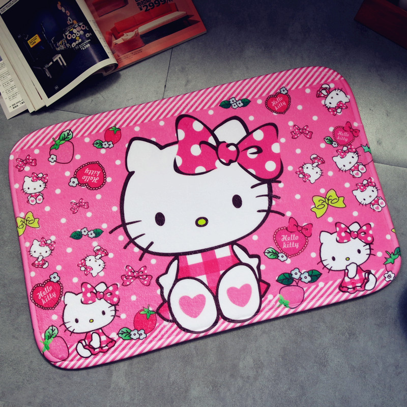 38x58cm Kt Water-absorbing Non-slip Mat Entrance Hall Floor Mat Baby Bedroom Cartoon Cute Kt Rug Baby Crawling Game Mat Carpet