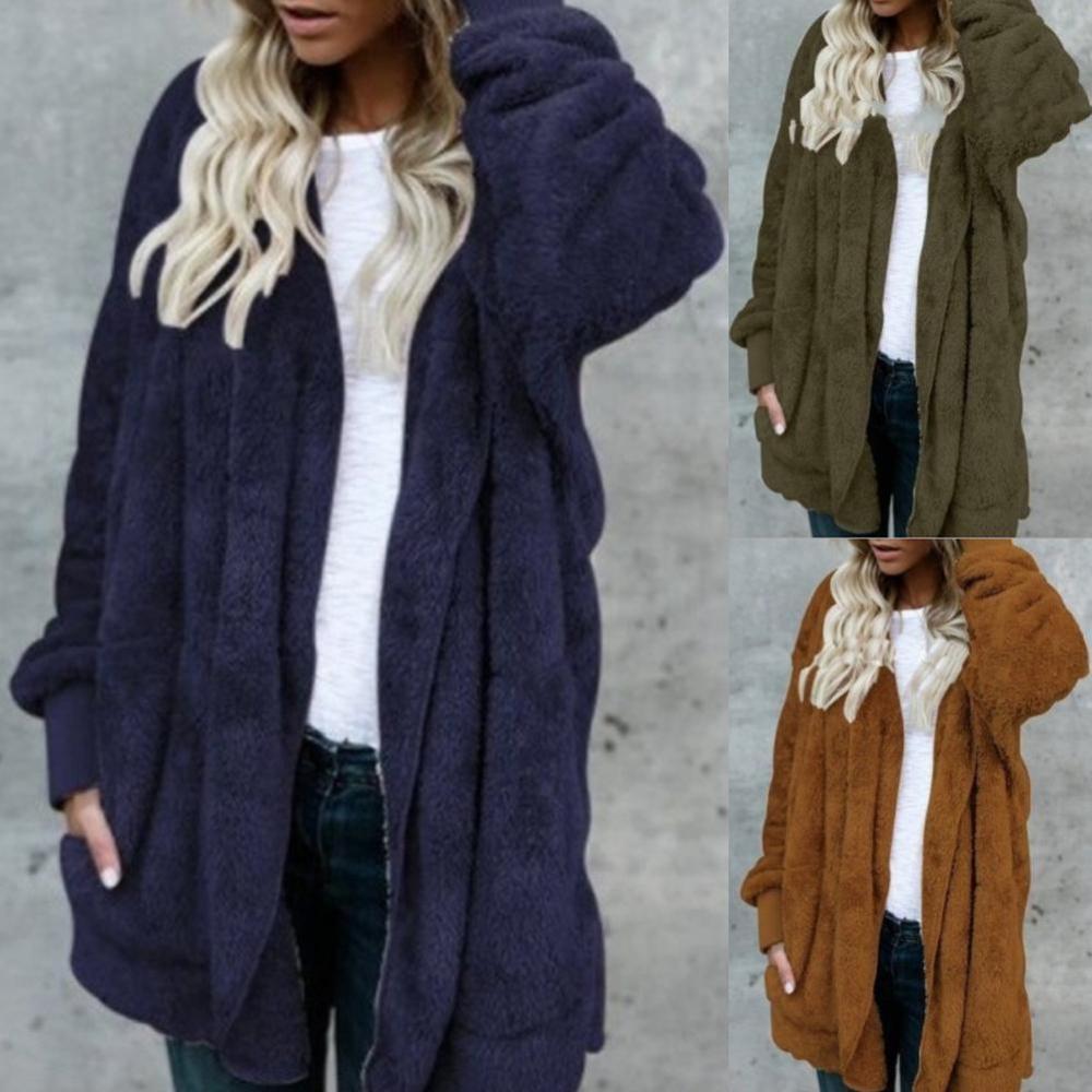 2019 New Women Long Sleeve Solid Color Plush Faux Fur Warm  All-match Hooded Midi Coat Cardigan Autumn Winter Overcoat  M-XXXL