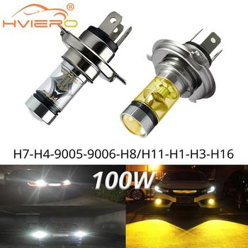 цена на 1X Car Led Fog Light 100W H1 H3 H4 H7 9005 H8 Headlight White Led Fog Lamp Auto Bulb Brake Trunk Turn Signal Fog Bulb Day Light