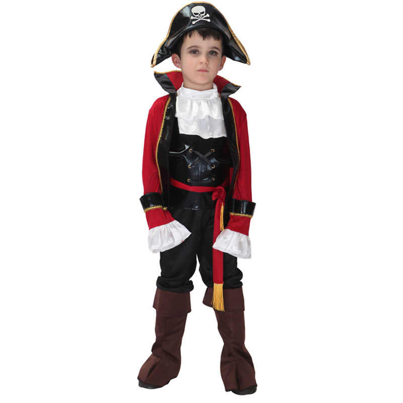 Boys Pirate Costume Captain Fancy Dress Caribbean Kids Childrens Hook Outfit