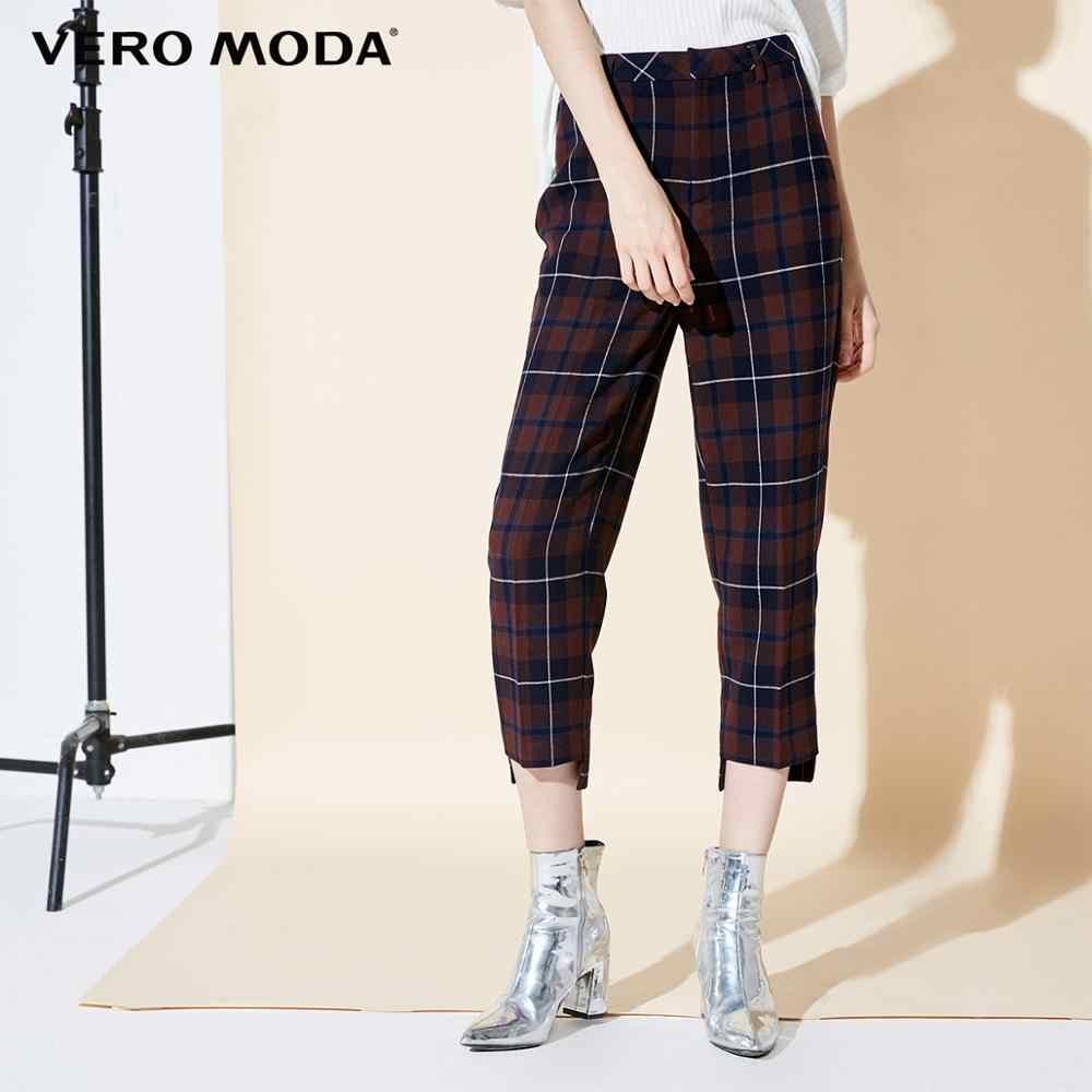 Vero Moda 2019 New Arrivals Women's Plaid Wide-leg Casual Capri Pants | 31846J523
