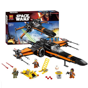 Poe's X-wing Fighter Starwars Compatible Lepinblock Building Blocks Bricks Fighter Assembled Fighter Star Wars X Wing Toys фото