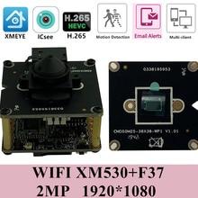 IP WIFI della Macchina Fotografica Senza Fili a Bordo del Modulo con Mini Lens 3.7 millimetri IRC XM530 + F37 1920*1080 25FPS Audio supporto 32G SD Card P2P Nube RTSP