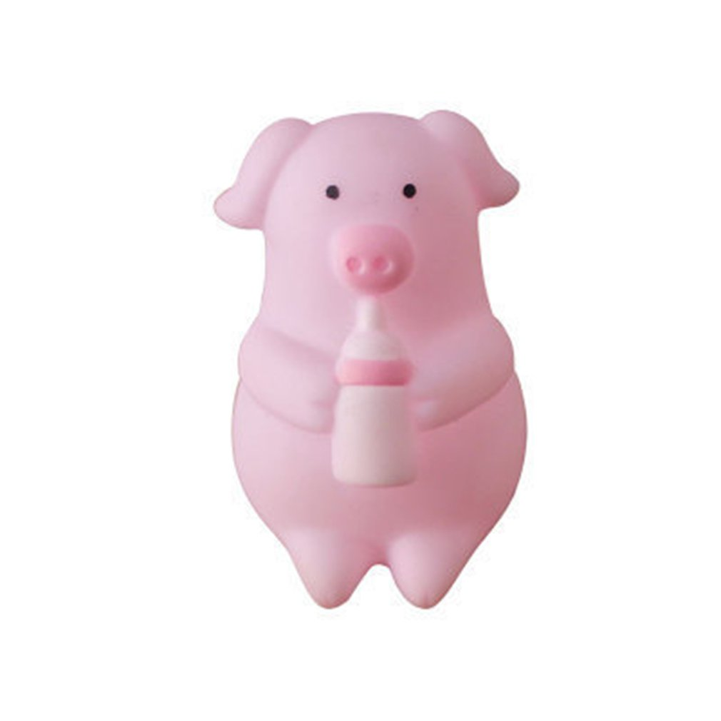 Cartoon Soft Cute Pink White Pig Toy Funny Pig Squeezing Pinch Decompression Small Plastic Cartoon