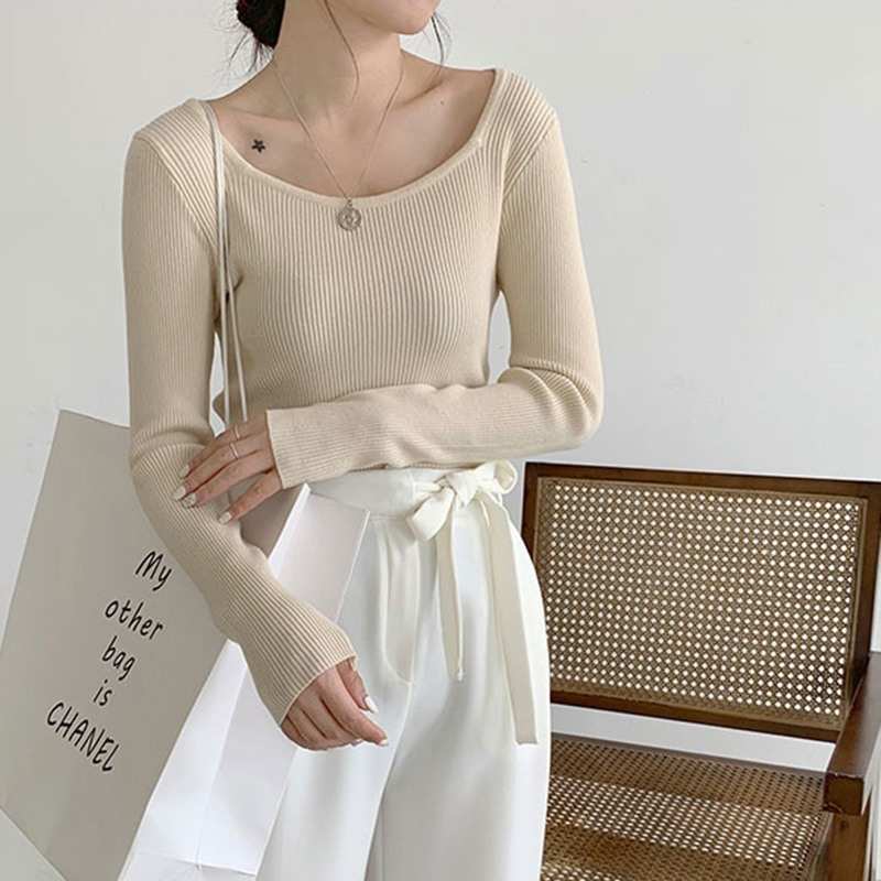 Women Sweaters Autumn Solid Color Long Sleeve Korean Style Sweaters Slim Soft Square Collar Fashion Knit Pullover