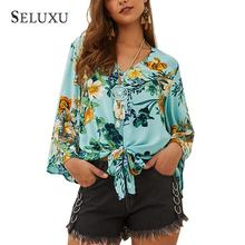 Seluxu 2019 Autumn Women T-Shirt Sexy V-Neck Floral Print Long Sleeve Flare Tops