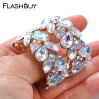 Flashshop pendientes de diamantes de imitación de Cristal AB para mujer pendientes exposición geométrica pendientes dorados de fondo joyería de moda