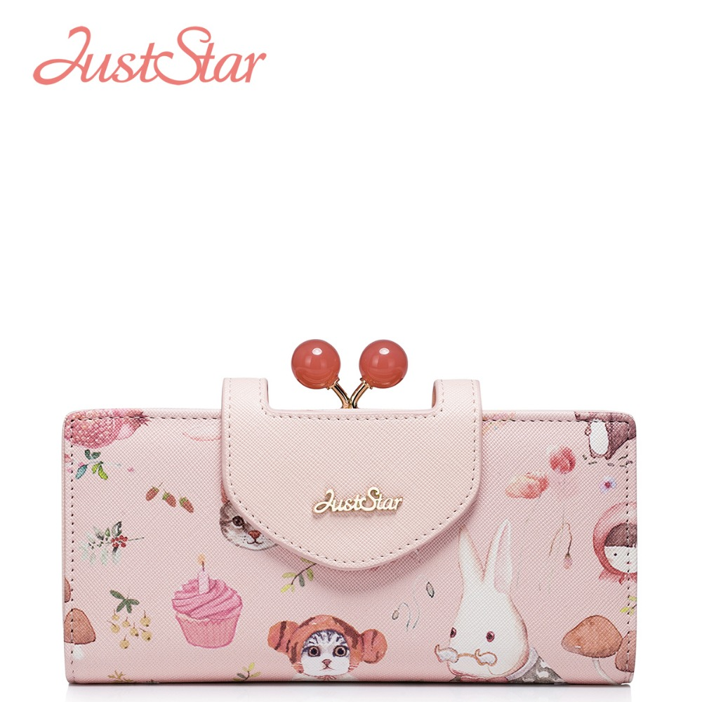 JUST STAR Famous Brand Women's PU Leather Wallet Ladies Cartoon Print  Purse Gift For Girl's Female Sweet Purse High Quality