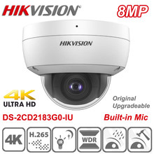 Hikvision original DS-2CD2183G0-IU substituir DS-2CD2185FWD-IS 8mp poe 4k hd ir embutido mic rede dome câmera upgardeable