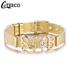 Cuteeco European Style Pan Bracelet Stainless Steel Mesh Charm Bracelets Double Heart Beads For Women DIY Jewelry Dropship