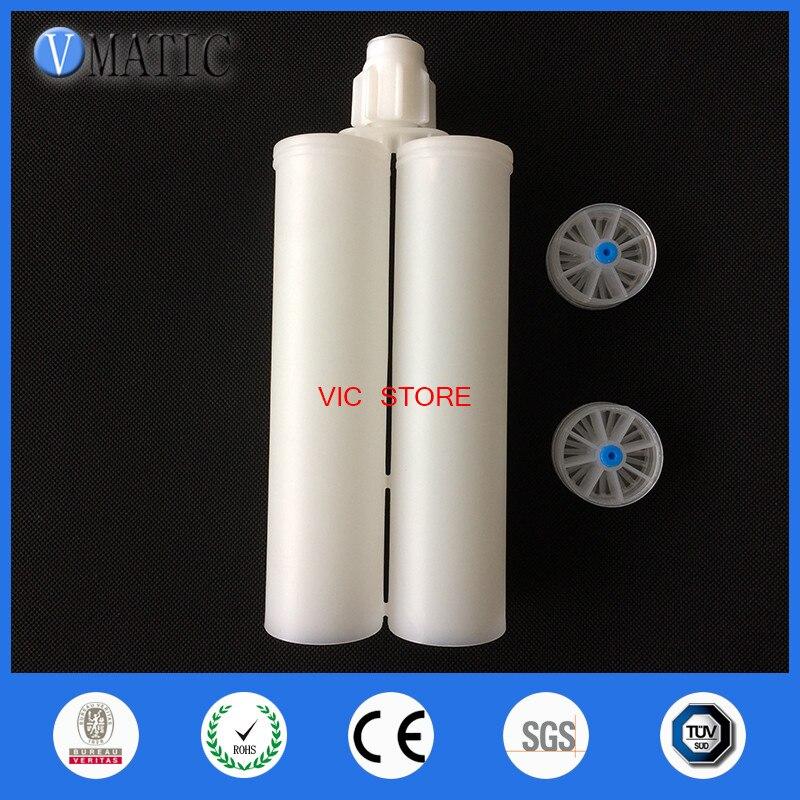 Free Shipping 400ml/cc Dual Epoxy Cartridge 1:1 W/ Pistons Cap And 1 Piece Of Static Mixer Nozzle MC10-18