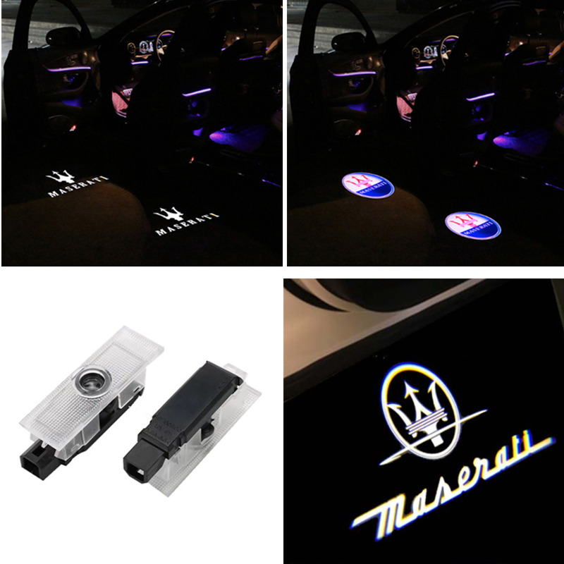 2X Car LED Door Logo Light For Maserati Quattroporte GranTurismo Ghibli GranCabrio Levante Ghost Shadow Welcome Lamp Accessories
