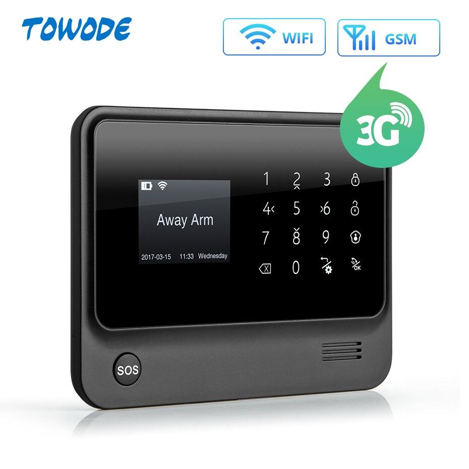 Towode 무선 홈 보안 WIFI GSM 3G GPRS APP 원격 제어 경보 시스템 패널 EN RU FR ES SE NL TRkit diykit kitskit gsm -