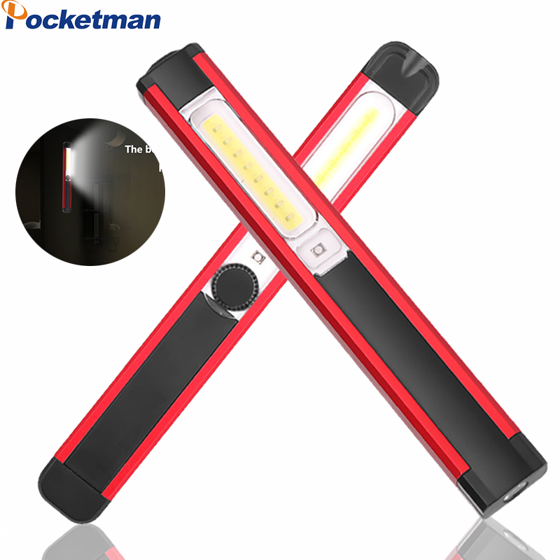 Super Bright LED COB Work Light USB Rechargeable White Or Red Flashlight Magnetic Torch Flight Light Built-in Battery Hand Lamp