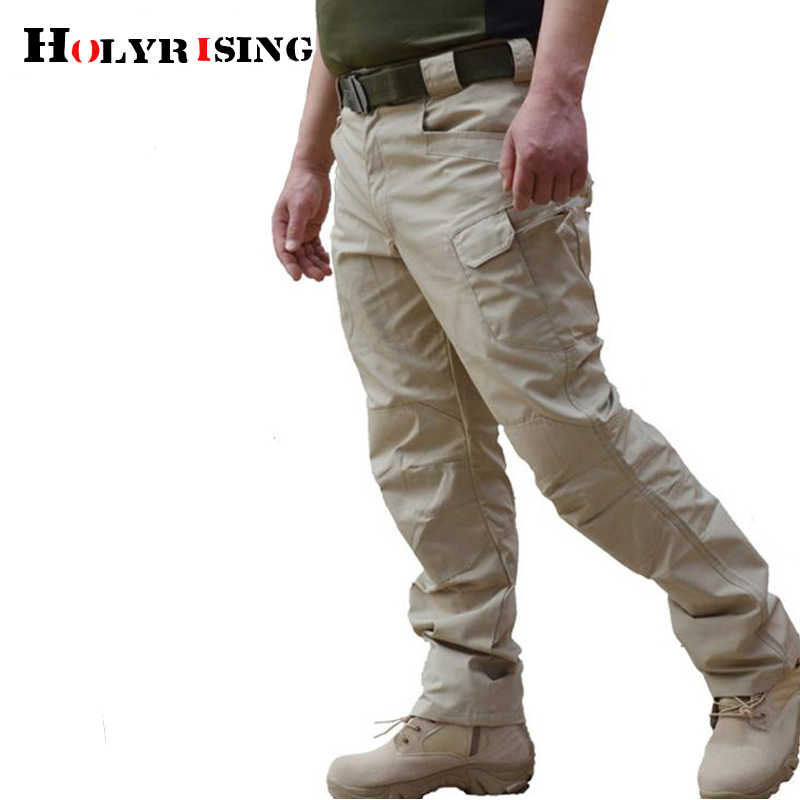 Spring Tactical Pants Army Male Camo Trousers Many Pocket Zip Military Style Camouflage Black Men's Cargo Pants 19086