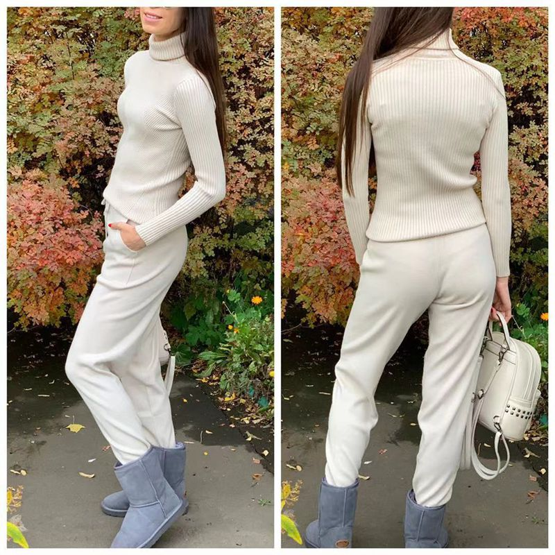 H470b9001fb3b46c1b86c3cbc71fbcc0ff - GIGOGOU Knitted High Waist Women Crop Harem Trousers Solid Peg Leg Fly Pants Casual Drawstring Winter Warm Workwear Carrot Pants