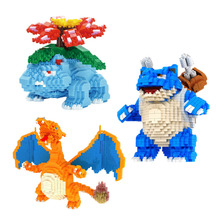 DIY Mini building block bricks Charizard Japanese Anime Diamond Pocket Doll Children's brithday Gift toy lno 217pcs charizard pokemon building block