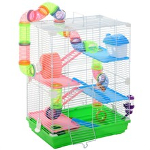 PawHut 5 storey hamster cage with ladder drinking trough wheel and tunnel 46x30x58cm Green & White