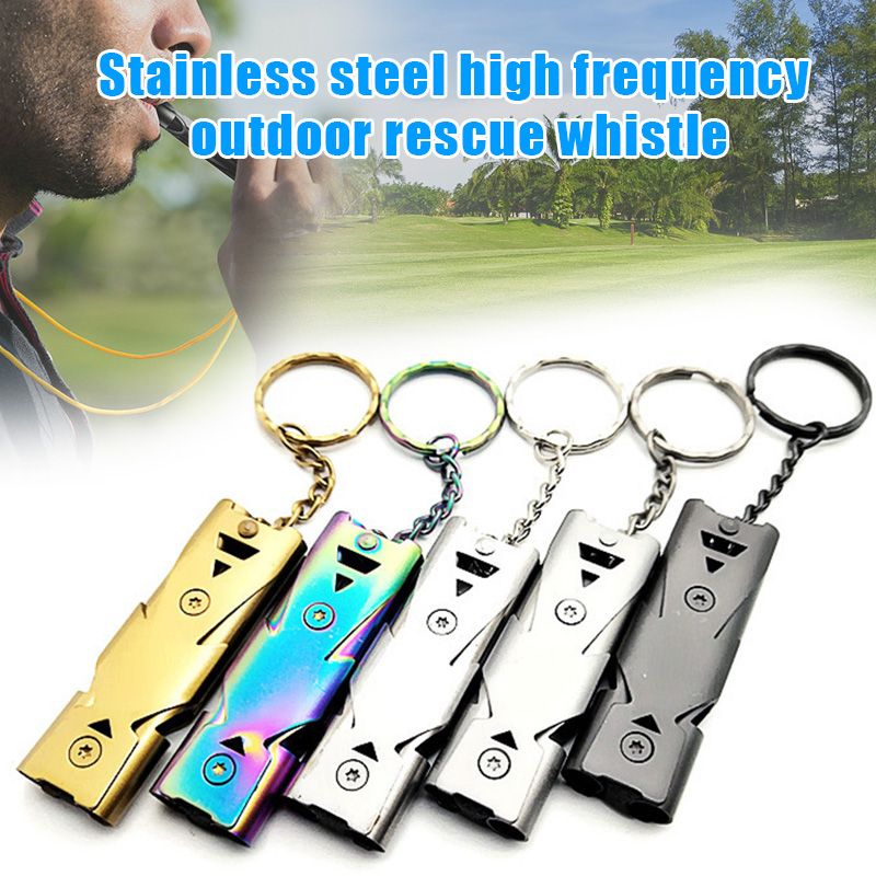 Emergency Safety Whistle Outdoor Survival Stainless Steel Chain Whistles