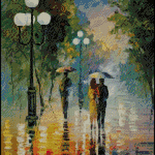 Cross-Stitch-Kit Oil-Painting Counted Street The Higher Cotton Top-Quality Raining