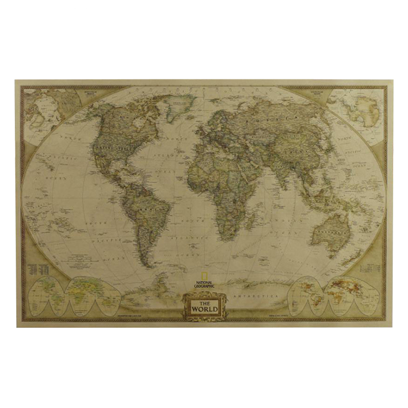 1pcs Large Vintage World Map  Detailed Antique Poster Wall Chart Retro Paper Matte Kraft Paper 28*18inch Map Of World