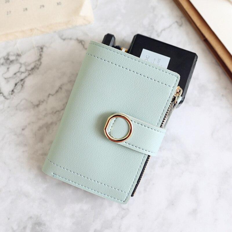 Женские кошельки, Маленький модный брендовый кожаный кошелек для женщин, женская сумка для карт, клатч, Женский кошелек, кошелек с зажимом для денег - Цвет: LightGreen