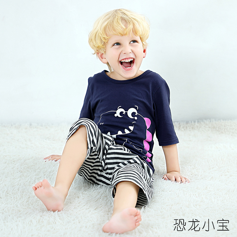 CHILDREN'S Cartoon Air Conditioning Clothes Pajamas Short Sleeved Shorts Suit Two Pieces Baby Summer Household Pajamas