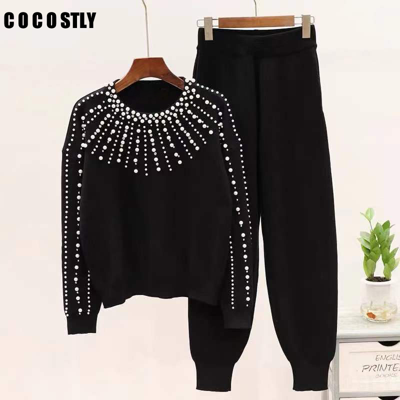 Winter Sweaters Pants Suit Beading Pearls Knitted Pullover Tops+Trousers Pants 2PCS Sets Tracksuits Women Clothing Matching Sets