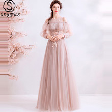 Skyyue Dress Prom O-Neck Long Sleeve  Beading Vestidos De Gala Embroidery Pink Plus Size Tulle Dresses 2019 E257