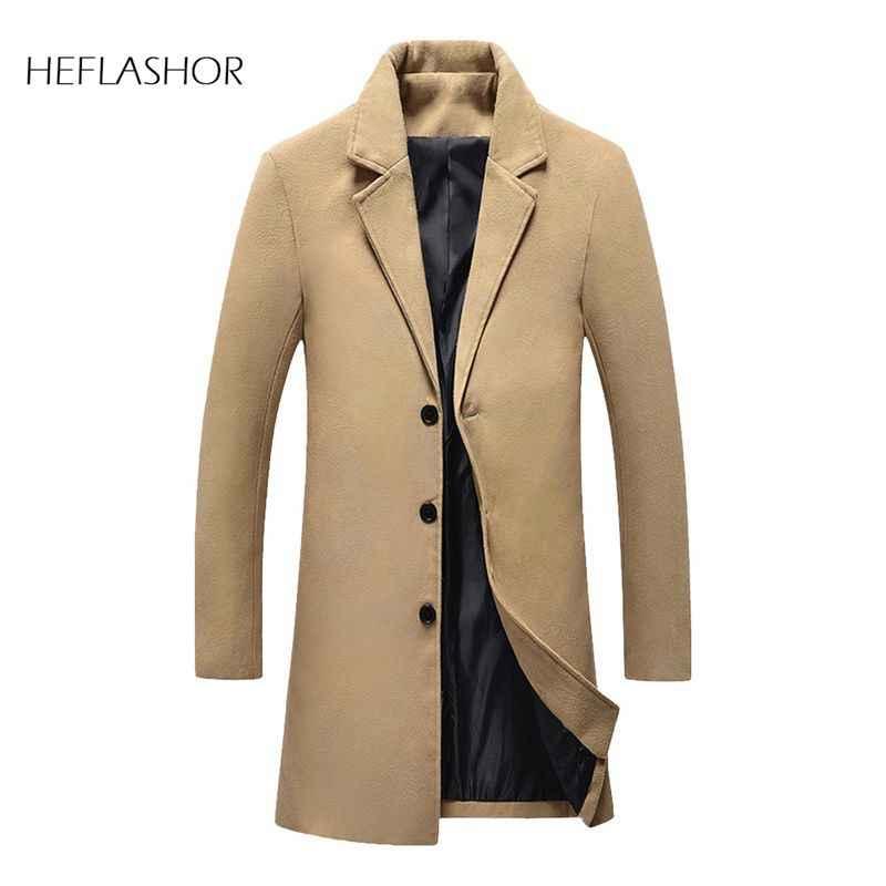 HEFLASHOR moda erkek yün ceket kış sıcak düz renk uzun trençkot erkek tek göğüslü iş rahat palto Parka