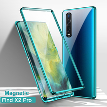 Magnetic Case for OPPO Find X2 Pro X Clear Tempered Glass Double-side 360 Full Protection Shockproof 9H Hardness Cover