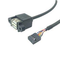 Motherboard Internal 9Pin 9P to double 2 Port USB 2.0 A Female Panel Mount DATA Cable 30cm 50cm 2 x USB Female