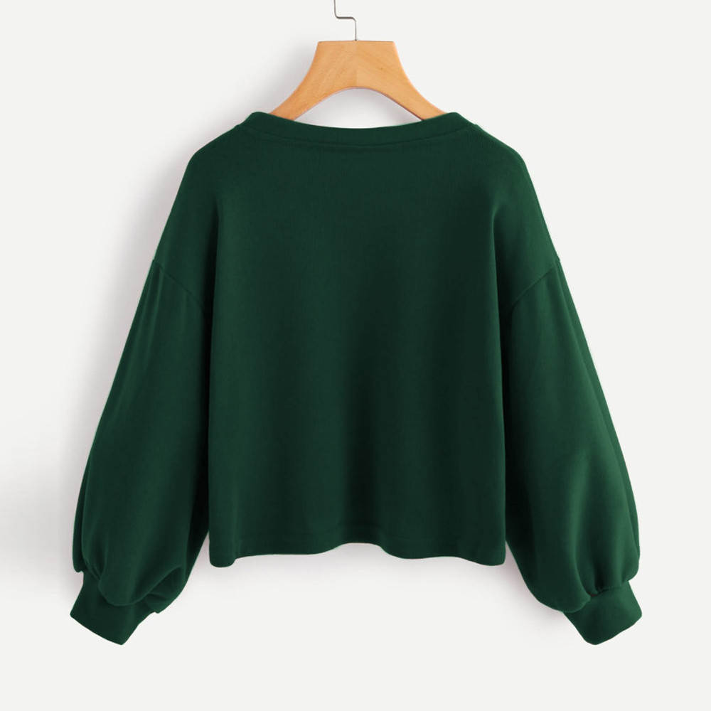 Jaycosin Fashion Women Solid Casual V-neck Lantern Sleeve Sweatshirt Casual Cool Chic New Look Hooded Pullover Tops Blouse 12
