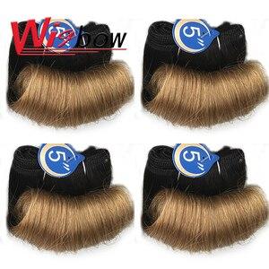 Перуанские человеческие волосы, пучки блонд, волнистые вьющиеся волосы T1B 30 27 99J, бордовые пучки волос, 4 шт./лот, наращивание волос Funmi