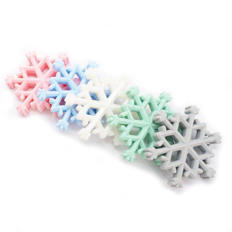 Chenkai 5PCS Snowflake Silicone Teether Baby Christmas Teether For DIY Nursing Necklace Pendant Chewable Teething Toy BPA Free