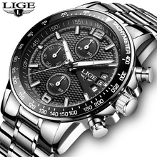Business Watch LIGE Mens Fashion Stainless Steel Watches Men Top Brand Luxury Quartz Wristwatch Waterproof Chronograph Clock+Box fossil chase timer chronograph wristwatch mens with stainless steel mens watches top brand luxury fs5542p
