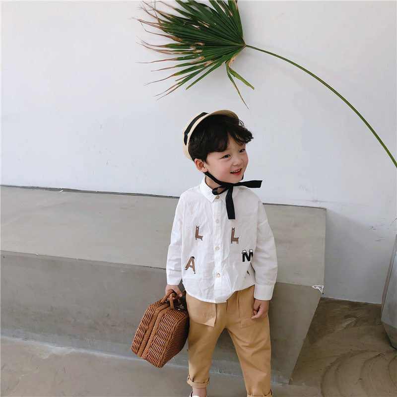 Spring New Arrival Korean Style Cotton Letters Printed All-match Loose Fashion Long Sleeve Shirt For Cool Baby Girls And Boys