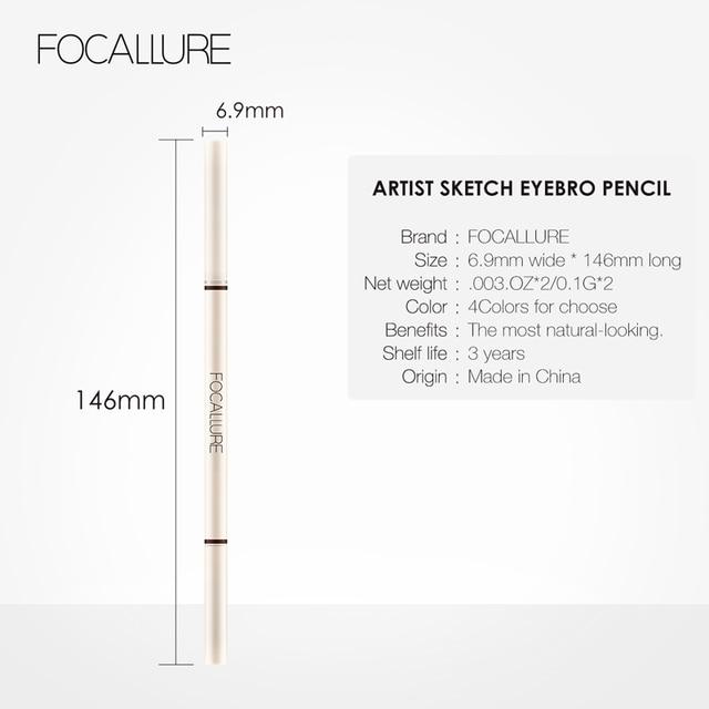 FOCALLURE Artist Sketch Eyebrow Pencil Waterproof Natural Long Lasting Eye Makeup Eye Brow Tint 4 Color Brows Makeup 5
