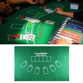 OOTDTY 90x60cm TX Hold'em Tablecloth Flannel 21 Points Dice Table Mat Casino Family Party Poker Game Entertainment Toys