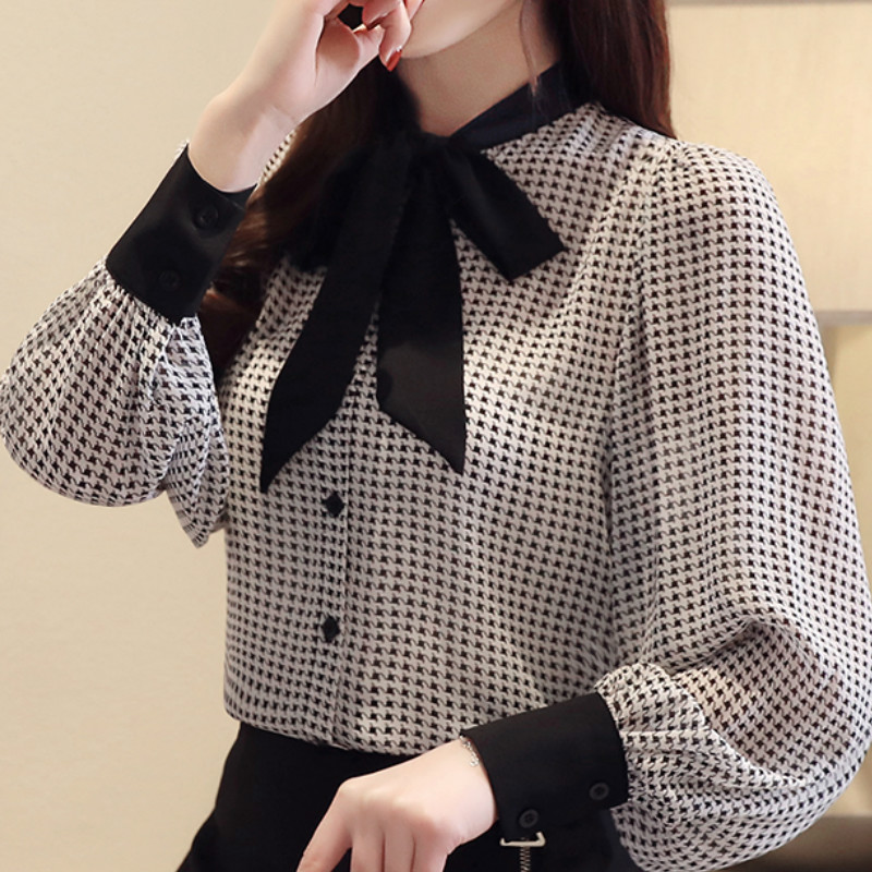 womens tops and blouses long sleeve women shirts fashion bow collor office blouse women plaid chiffon shirt female top Plus size 4