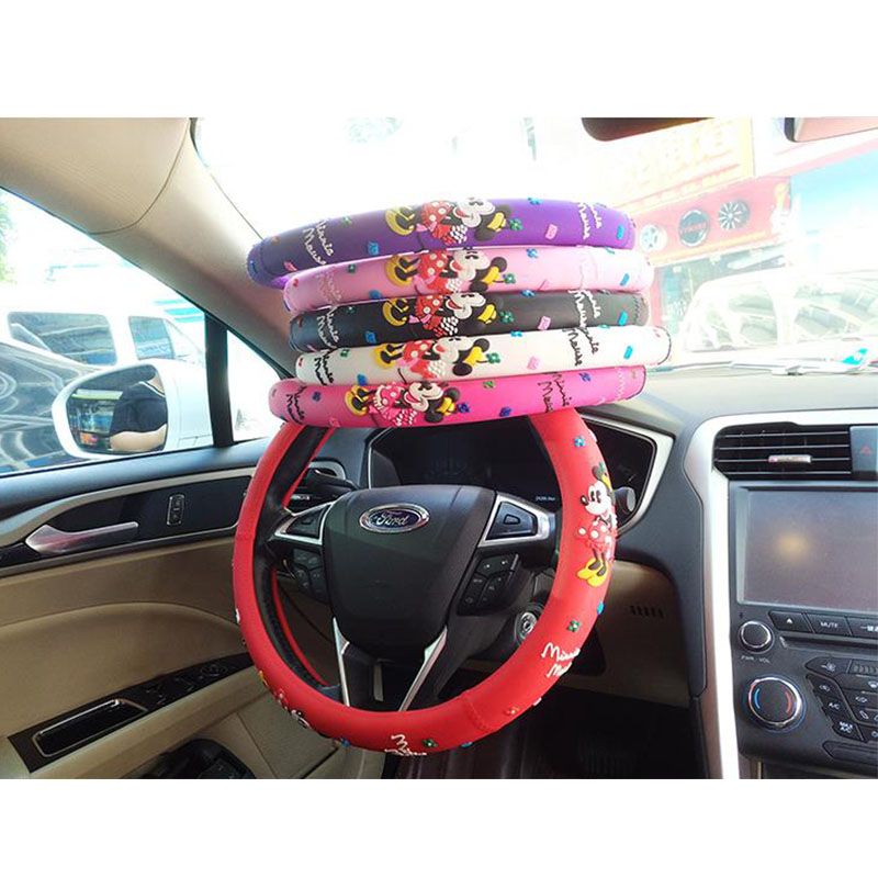Princess Mickey <font><b>Car</b></font> Steering-<font><b>Wheel</b></font> <font><b>Cover</b></font> For Auto Interior Decoration Cartoon Very Cute Steering <font><b>Wheel</b></font> <font><b>Covers</b></font> For <font><b>Girls</b></font> image