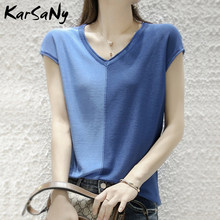 KarSaNy Summer Ice Silk T-shirts For Women 2021 Fashion V Neck Loose Stitching Tops Short Sleeve Knitted T Shirt Women Tshirt